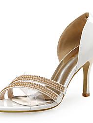 Feminino-Sandálias-Sapatos clube-Salto Agulha-Branco-Sintético Gliter Tecido-Casamento Social Festas & Noite