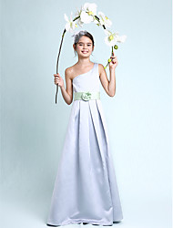 A-Line Princess One Shoulder Floor Length Satin Junior Bridesmaid Dress with Draping Flower(s) Sash / Ribbon by LAN TING BRIDE®