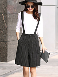 High Rise Micro-elastic Chinos Shorts Pants,Simple Cute Straight Wide Leg Pleated Patchwork Striped