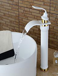 Moderne Set de centre Jet pluie Soupape céramique Mitigeur un trou Peintures , Robinet lavabo