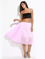 Women's Pink/White/Black/Green/Beige Skirt,Vintage/Cute Midi Layered