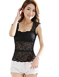 cheap -Women's Polyester Tank Top - Solid, Lace Deep U