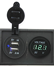12V/24V 3.1A dual USB socket and led voltmeter with housing holder panel for car boat truck RV