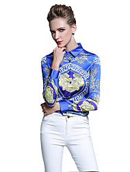 cheap -Women's Daily Work Chinoiserie Spring Summer Shirt,Print Shirt Collar Long Sleeves Cotton Thin