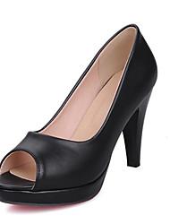 Damen-High Heels-Büro Kleid-Kunstleder-Stöckelabsatz-Club-Schuhe-Schwarz Weiß Beige