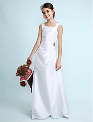 cheap -Sheath / Column Square Neck Floor Length Taffeta Junior Bridesmaid Dress with Draping Ruched Crystal Brooch by LAN TING BRIDE®