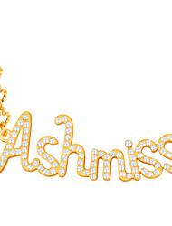 Per uomo Da donna Collane con ciondolo Cristallo Strass imitazione diamante Lettere dell'alfabeto Strass Placcato in oro Di tendenza
