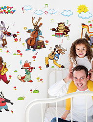 cheap -Animals Cartoon Music Wall Stickers Plane Wall Stickers Decorative Wall Stickers, Paper Home Decoration Wall Decal Wall