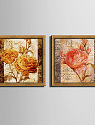 cheap -E-HOME® Framed Canvas Art Rose Retro Effect Framed Canvas Print Set One Pcs