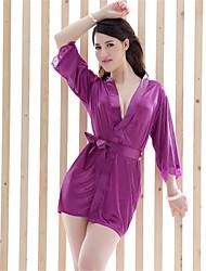 Недорогие -Для женщин Костюм Халат Ультра-секси Ночное белье Однотонный Полиэстер Белый Розовый Фиолетовый Черный