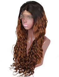 Ženy Paruky z přírodních vlasů Přírodní vlasy Se síťovanou přední částí Krajka vpředu 130% 150% Hustota Přírodní vlny Paruka Black /