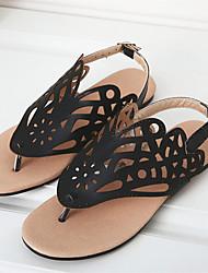 preiswerte -Damen Schuhe Vlies / PU Sommer Komfort / Fersenriemen / Leuchtende Sohlen Sandalen Walking Flacher Absatz Offene Spitze Schnalle /