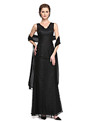 cheap -Sheath / Column V Neck Ankle Length Lace / Sequined Mother of the Bride Dress with Sequin / Lace / Pleats by LAN TING BRIDE® / Sparkle & Shine
