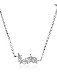 Estrela Forma Personalizada Rhinestone Básico Fashion Adorável Gargantilhas Colares com Pendentes Zircônia Cubica Prata Chapeada Liga