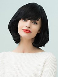 Bob Medium Inclined Bang Natural  WavyHuman Hair Wig