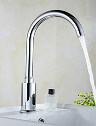 cheap -Contemporary Centerset Touch/Touchless Ceramic Valve One Hole Hands free One Hole Chrome , Bathroom Sink Faucet