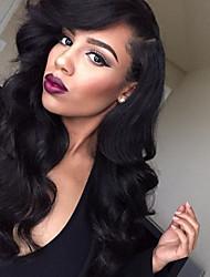 abordables -Cheveux humains Dentelle frontale Perruque Ondulation naturelle 130% Densité Ligne de Cheveux Naturelle / Perruque afro-américaine / 100 % Tissée Main Femme Long Perruque Naturelle Dentelle