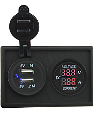 cheap -12V/24V 3.1A dual USB socket and led current meter with housing holder panel for car boat truck RV