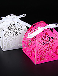 cheap -50pcs Rose Laser Cut Candy Box Wedding Favor Box Wedding Decorations Supplies