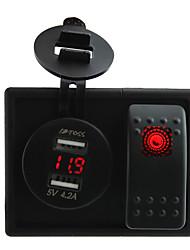 Недорогие -DC 12V / 24v красный светодиод цифровой 4.2A двойной USB вольтметр зарядное гнездо с Кулисный перемычек и держатель корпуса