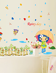 Rainy Day Umbrella Girl Raindrop Wall Stickers Cartoon DIY Children's Bedroom Wall Decals