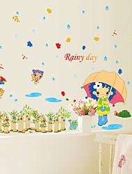cheap -People Fashion Cartoon Wall Stickers Plane Wall Stickers Decorative Wall Stickers, Paper Home Decoration Wall Decal Wall Glass/Bathroom