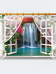 cheap -3D Landscape Painting False Window Waterfall 3D Wall Stickers Removable Creative Living Room Bathroom Wall Decals