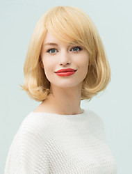 Short Oblique Bangs Fashion  Natural  Wavy Human Hair Wig