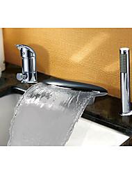 preiswerte -Badewannenarmaturen - Wasserfall Chrom 3-Loch-Armatur Einhand Drei Löcher