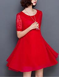 Ample Balançoire Robe Femme Sortie Grandes Tailles simple,Couleur Pleine Fleur Col Arrondi Mi-long Manches Courtes Rouge Noir Coton Eté