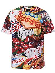 Masculino Camiseta Casual Bandagem Tamanhos Grandes Boho Moda de Rua Punk & Góticas Primavera Verão,Estampado Colorido PoliésterDecote