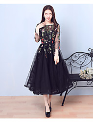A-Line Illusion Neckline Tea Length Tulle Cocktail Party Prom Dress with Embroidery