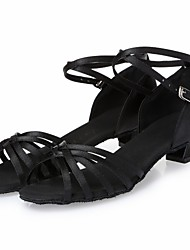 "Kids' Latin Dance Sneakers Modern Salsa Satin Heel Practice Beginner Professional Indoor Performance Ribbon Tie Chunky Heel Black 1"" - 1"