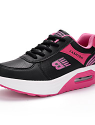 cheap -Women's Athletic Shoes Spring Summer Fall Winter Creepers Leatherette Office & Career Casual Platform Lace-up Black Red White Walking
