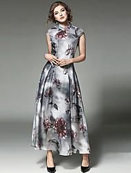 abordables -Mujer Vaina Vestido - Estampado Maxi Escote Chino