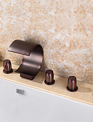 Contemporary Tub And Shower Waterfall Widespread Handshower Included Ceramic Valve Five Holes Three Handles Five Holes Oil-rubbed Bronze