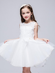 cheap -A-Line Knee Length Flower Girl Dress - Organza Sleeveless Jewel Neck with Bow(s) Lace by YDN