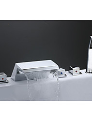 Contemporary Art Deco/Retro Modern Widespread Waterfall Ceramic Valve Three Handles Five Holes Chrome , Bathtub Faucet