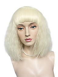 Lady Gaga Style Kinky Curly Wig Synthetic Fiber Wig Blonde Short Bob Wig