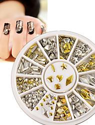Gold Silver Metal Nail Art Stickers Decor Rhinestones Tips Metallic Studs 120Pcs
