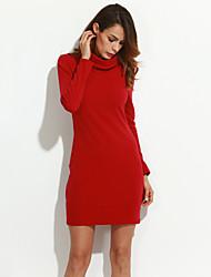 Gaine Robe Femme Sortie simple,Couleur Pleine Col Roulé Mini Manches Longues Coton Automne Taille Normale Elastique Epais