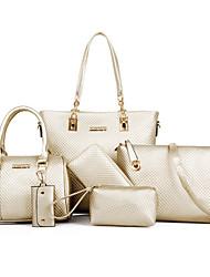 baratos -Mulheres Bolsas PU Conjuntos de saco 6 Pcs Purse Set Tachas Preto / Bege / Azul