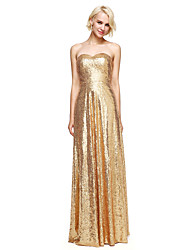 cheap -Sheath / Column Sweetheart Floor Length Sequined Bridesmaid Dress with Sequins by LAN TING BRIDE®