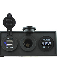 cheap -12V/24V Power charger3.1A USB port and 12V voltmeter gauge with housing holder panel for car boat truck RV