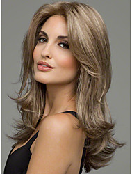 cheap -Synthetic Hair Wigs Straight Middle Part Natural Wigs Medium Brown