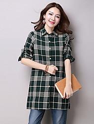 unterzeichnen Frühjahr neue Frauen koreanischen Werften Baumwolle mit langen Ärmeln kariertes Hemd und lange Abschnitte Mantel