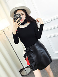 Sign 2016 new Korean tassel scarf turtleneck sweater with PU leather skirt bust skirt suit
