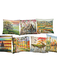 "Set of 7  Landscape Painting Linen  SquareNordic Style Cushion Covers Pillowcases (18""*18"")"