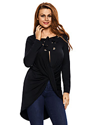 Women's Lace up Lace Up Long Sleeve Ruched Pullover Shirt