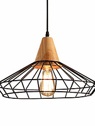 Retro Industrial Style Wood With  Wrought Iron Birdcage Pendant Lights Dining Room Cafe Game Room light Fixture